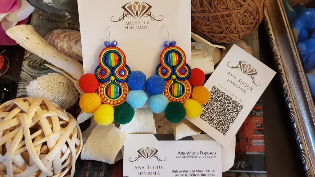Cercei POM POM Rainbow Handmade Ana Bijoux Handmade, bijuterii de lux, exclusiviste Ana Maria Popescu 0761503016