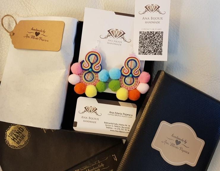 Cercei POM POM Pastel Handmade Ana Bijoux Handmade, bijuterii de lux, exclusiviste Ana Maria Popescu 0761503016, soutache