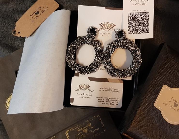 Cercei Circle Moon Handmade Ana Bijoux Handmade, bijuterii de lux handmade, exclusiviste Ana Maria Popescu 0761503016, soutache, accesorii
