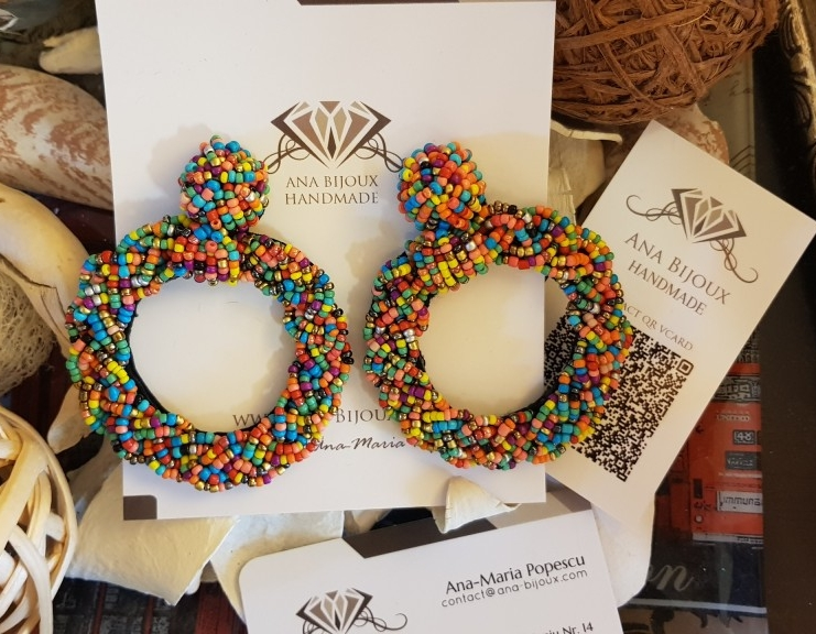 Cercei Moon Rainbow Handmade Ana Bijoux Handmade, bijuterii de lux handmade, exclusiviste Ana Maria Popescu 0761503016, soutache, accesorii handmade