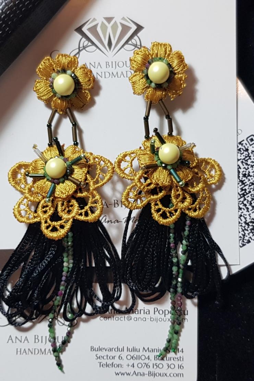 Gold-Embroidery Swarovski Handmade Ana Bijoux Handmade